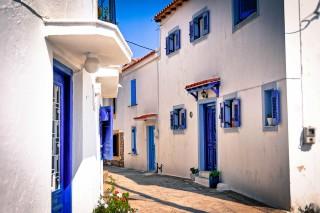 skiathos island saint town streets